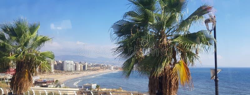 海滩美好的含沙视图 免版税库存照片