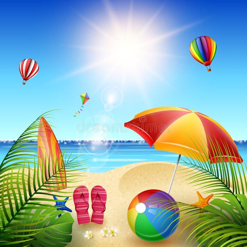 海滩美好的夏天 库存例证