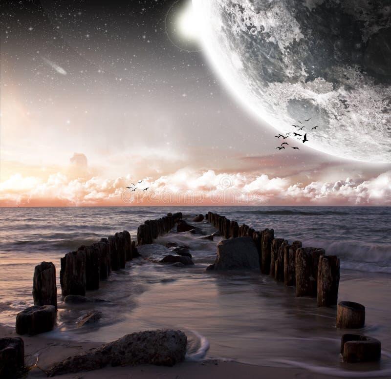 海滩美好的月亮视图 向量例证