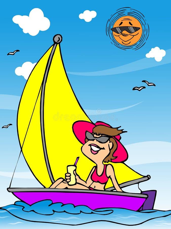 海滩节假日妇女 向量例证