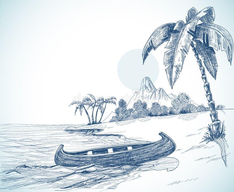 海滩草图 皇族释放例证