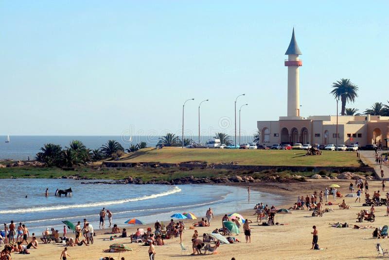 海滩蒙得维的亚海边夏天 免版税库存照片