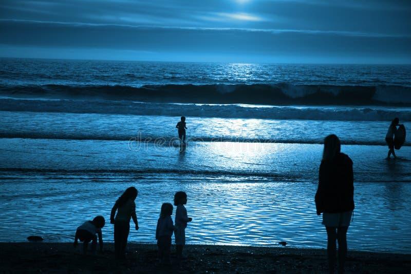 海滩蓝色月光 库存图片