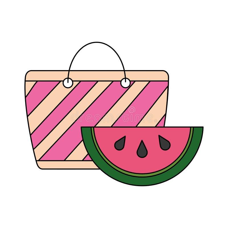 海滩袋子和西瓜热带夏天 向量例证