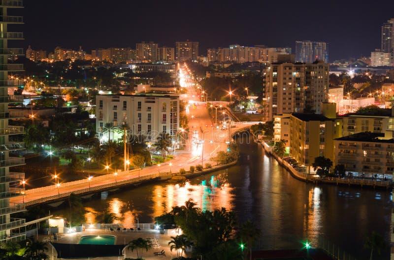 海滩迈阿密晚上地平线业务量 库存照片