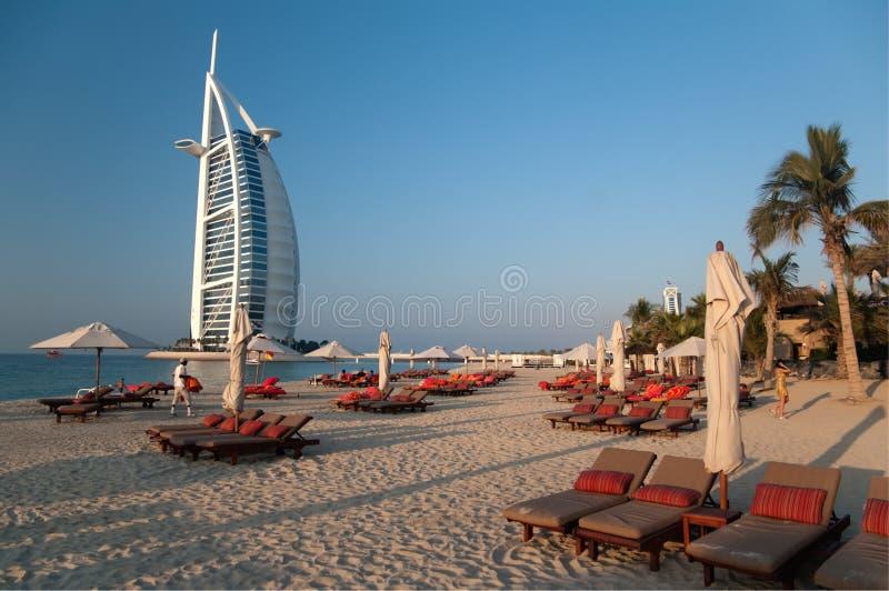 海滩迪拜阿拉伯联合酋长国 库存图片