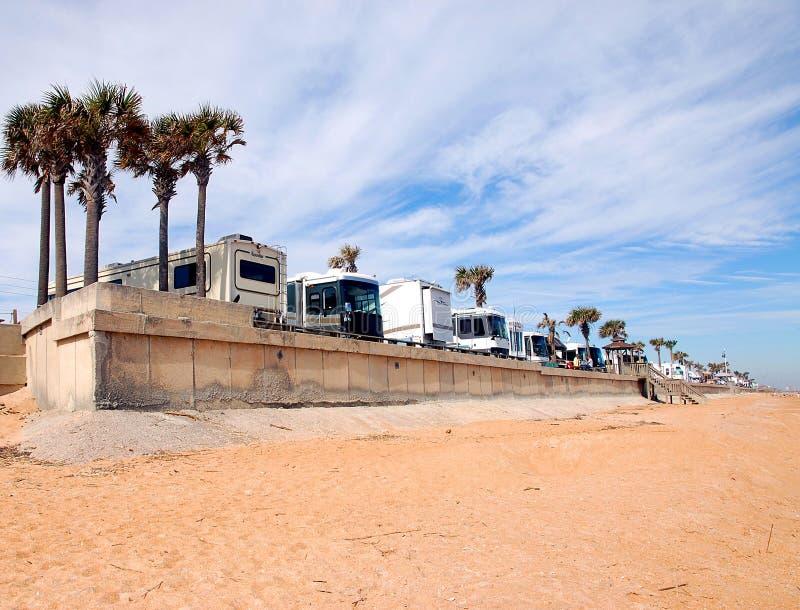 海滩野营的佛罗里达rv 库存照片