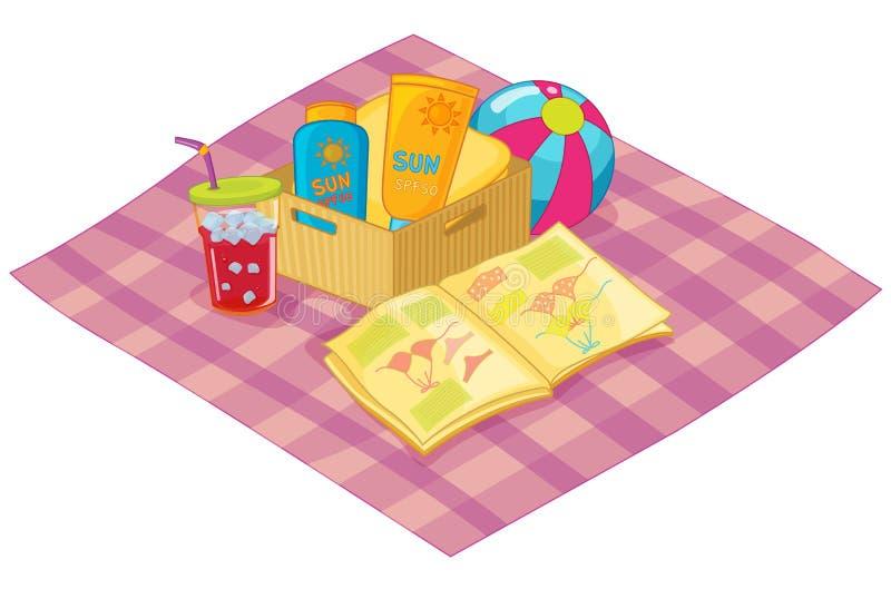 海滩野餐 向量例证