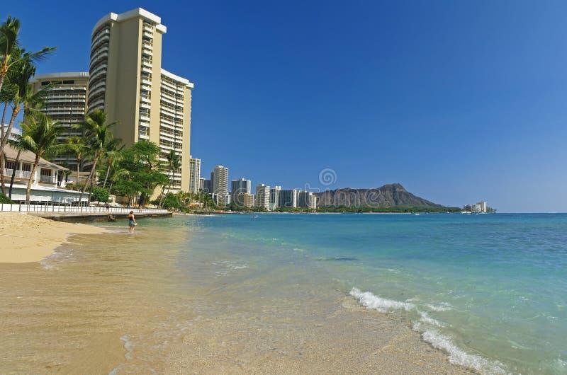 海滩金刚石夏威夷顶头全景 图库摄影