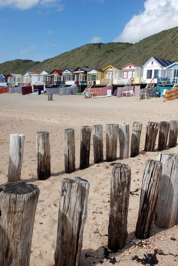 海滩防堤安置夏天 免版税库存图片