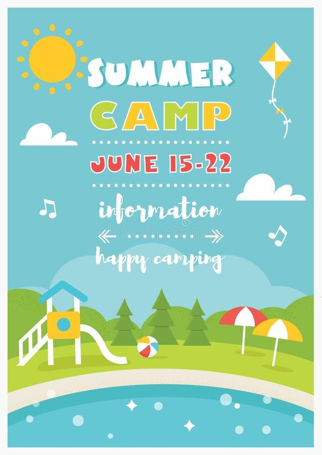 海滩阵营或俱乐部孩子的 夏天海报传染媒介模板 库存例证