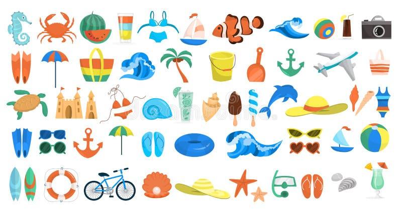 海滩集合 暑假材料的汇集 皇族释放例证