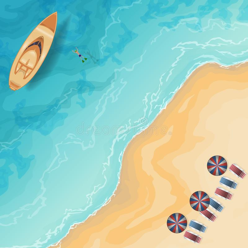 海滩顶视图 皇族释放例证