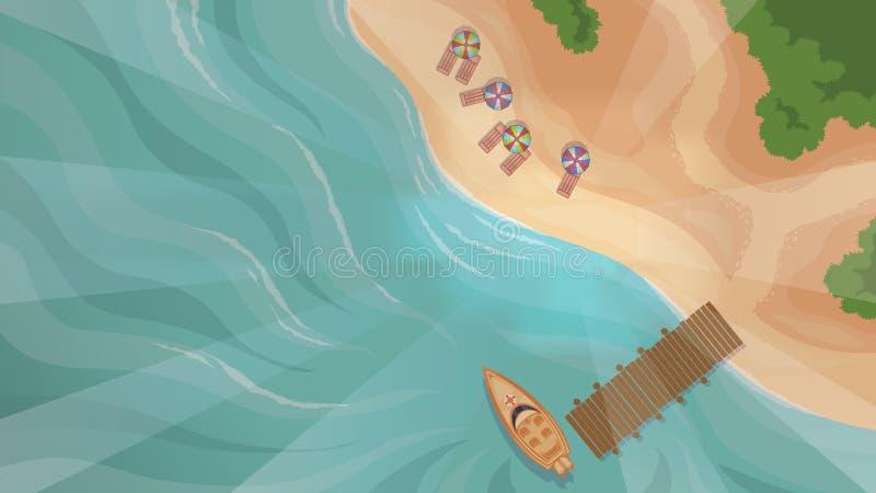 海滩顶视图 库存例证