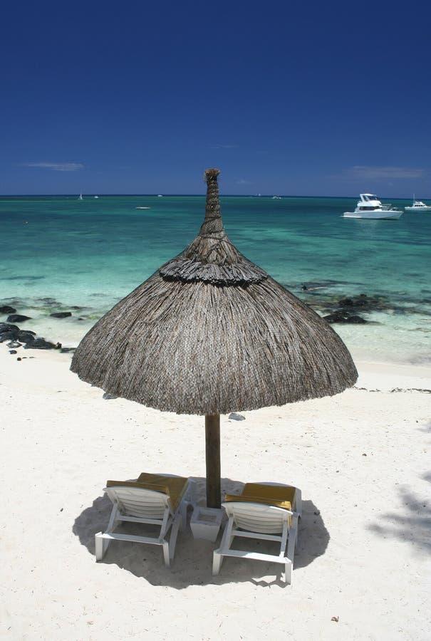 海滩顶部伞视图 免版税图库摄影