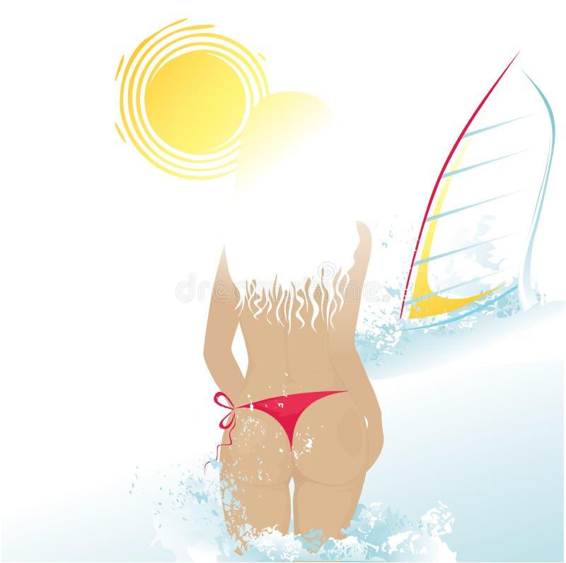 海滩风帆冲浪妇女 皇族释放例证