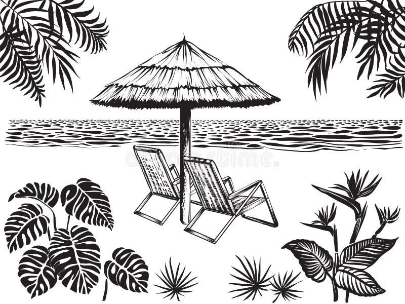 海滩风景与热带叶子的风景视图 伞和两把椅子,传染媒介剪影 库存例证