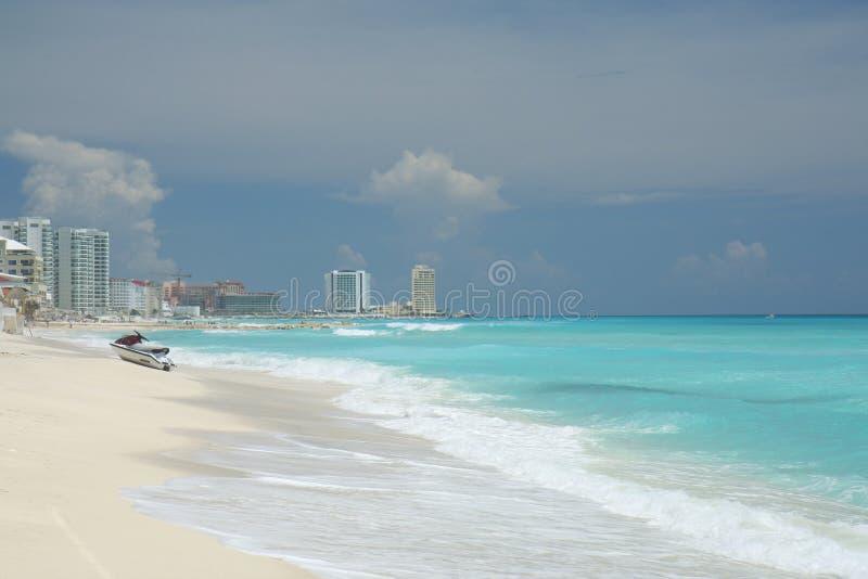 海滩风景的坎昆 图库摄影