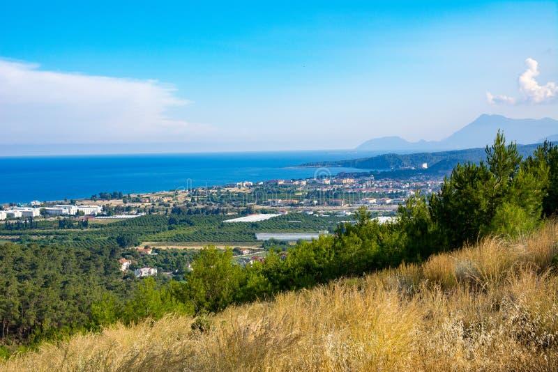 海滩风景视图  Kemer,土耳其 库存照片