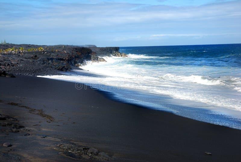 海滩黑色夏威夷沙子 免版税图库摄影