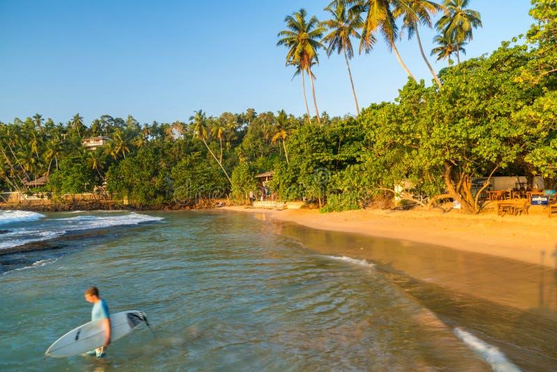 海滩,Mirissa,南海岸,斯里兰卡 免版税库存照片