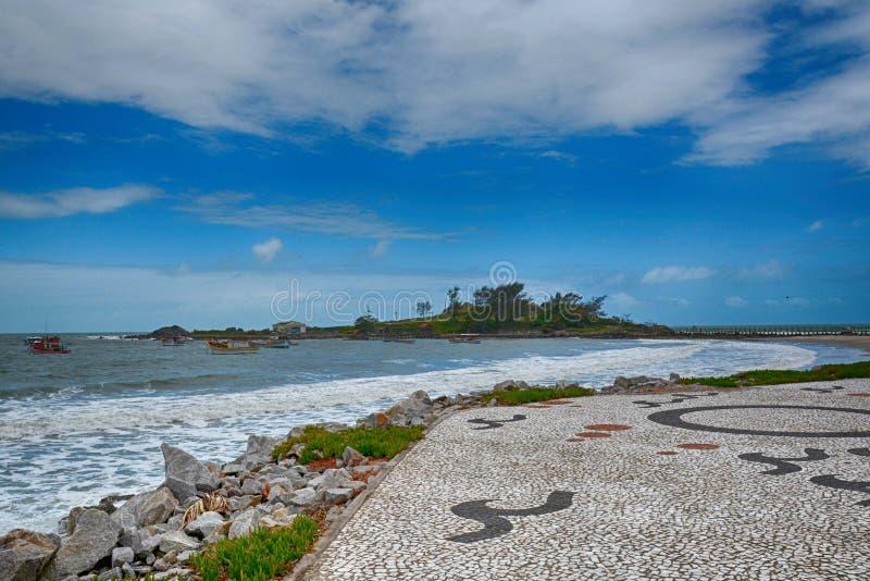 海滩armacao armação,弗洛里亚诺波利斯,巴西 免版税库存图片