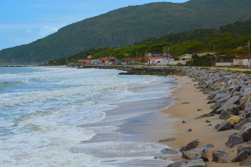 海滩armacao armação,弗洛里亚诺波利斯,巴西 图库摄影
