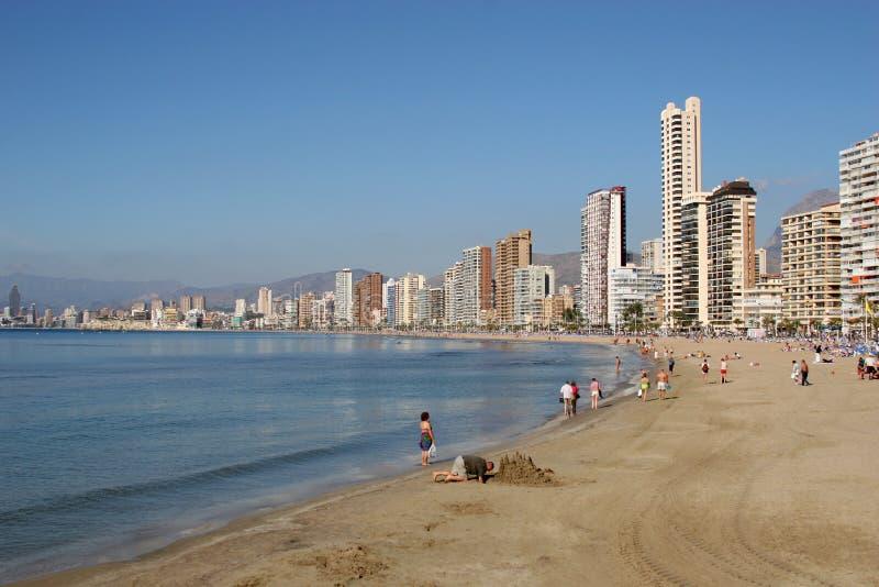 海滩benidorm西班牙 库存图片