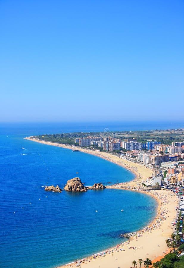 海滩blanes brava肋前缘西班牙 免版税图库摄影