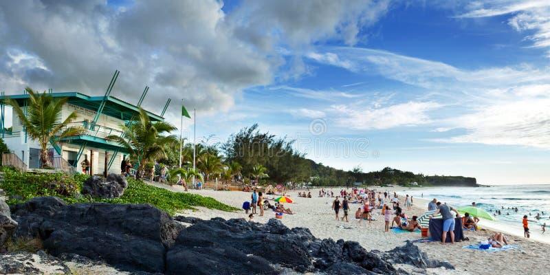 海滩boucan canot留尼汪岛 库存图片