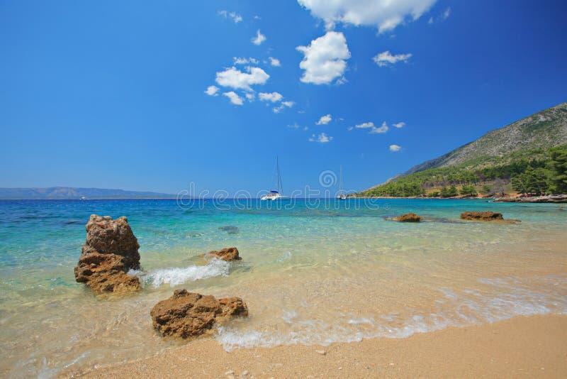 海滩brac克罗地亚海岛 免版税库存照片