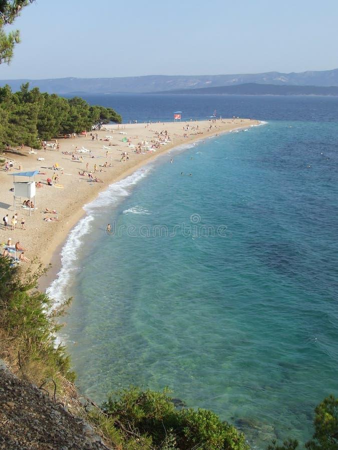 海滩brac海角克罗地亚金黄海岛 免版税库存图片