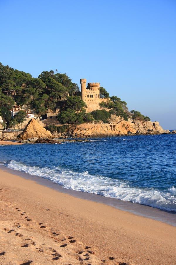 海滩brava costa de lloret 3月西班牙 图库摄影