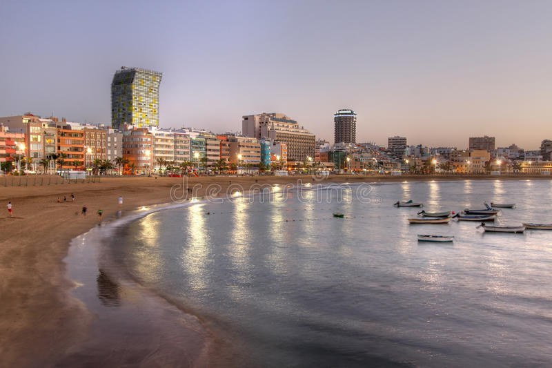 海滩canaria canteras de gran Las Palmas西班牙 库存图片