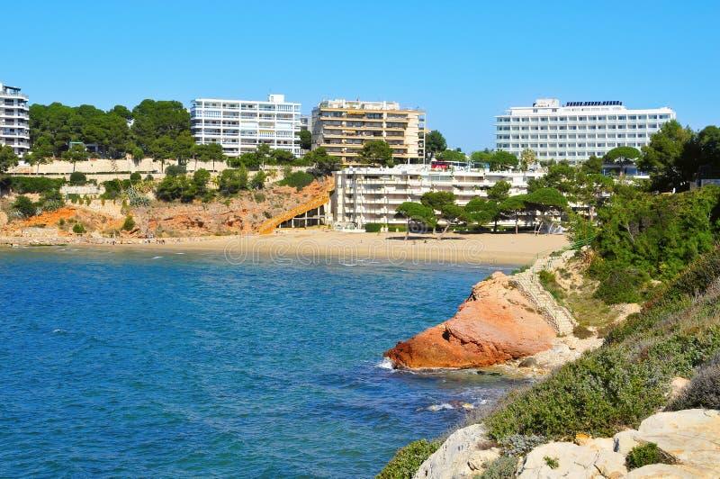 海滩capellans salou西班牙 免版税库存图片