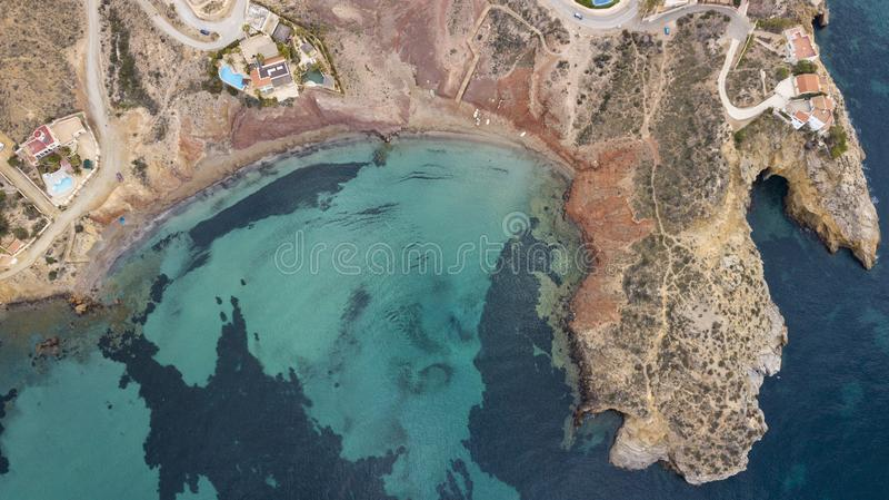 海滩cenital aereal 库存图片