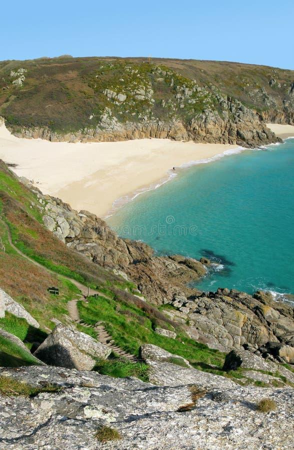 海滩cornwall porthcurno英国 免版税图库摄影