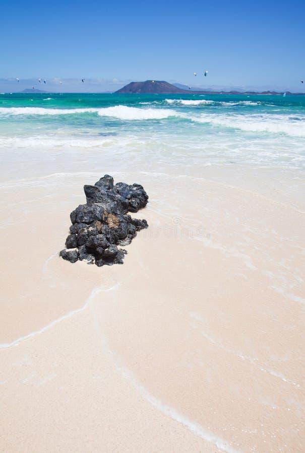 海滩corralejo标志 免版税库存图片