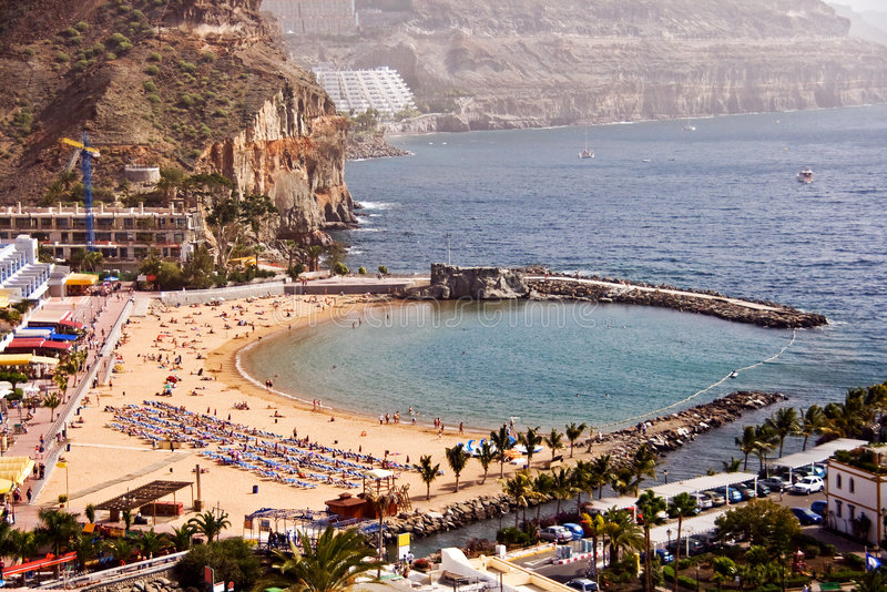 海滩de mogan puerto 免版税库存图片