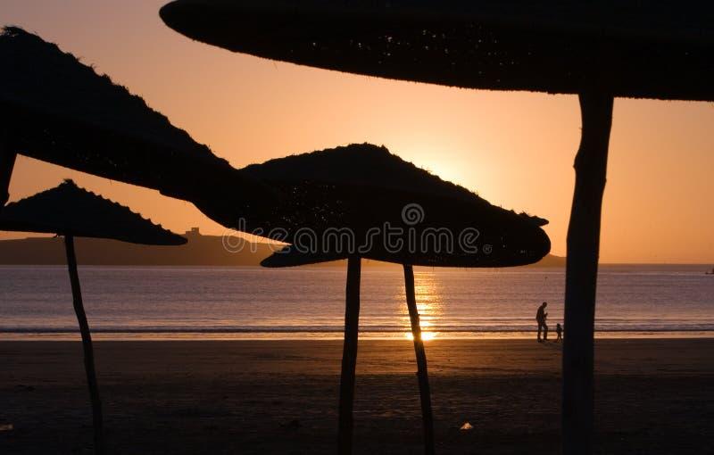 海滩essaouria摩洛哥日落 库存图片