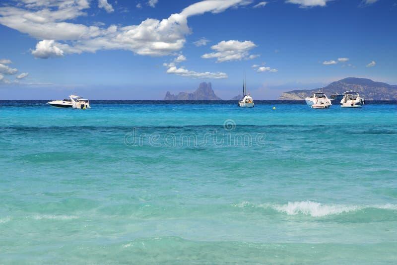 海滩formentera illetes地中海绿松石 图库摄影