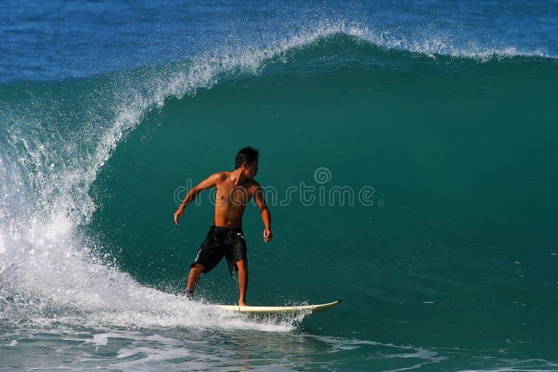 海滩kai rabago冲浪者冲浪的waikiki 免版税库存照片