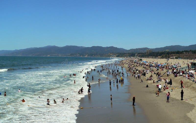 海滩monica ・圣诞老人 免版税库存图片