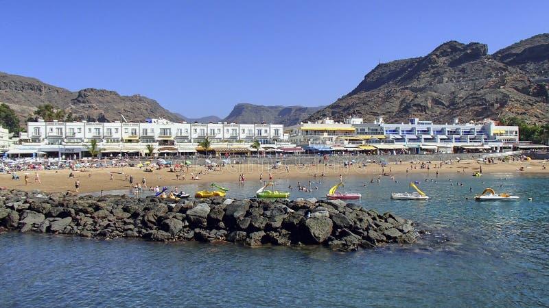 海滩Puerto在加那利群岛大加那利岛的de Mogan 库存照片