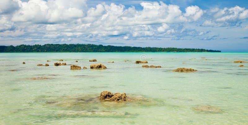 海滩vijaynagar havelock的海岛 免版税库存照片