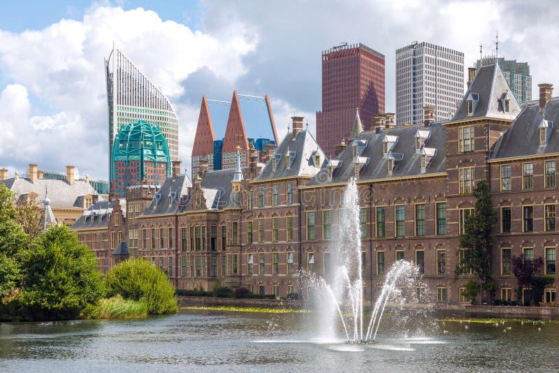 海牙市中心视图在荷兰 免版税库存照片