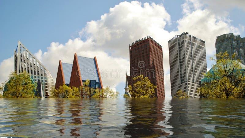 海牙,荷兰被充斥的地平线数字操作概念 库存照片