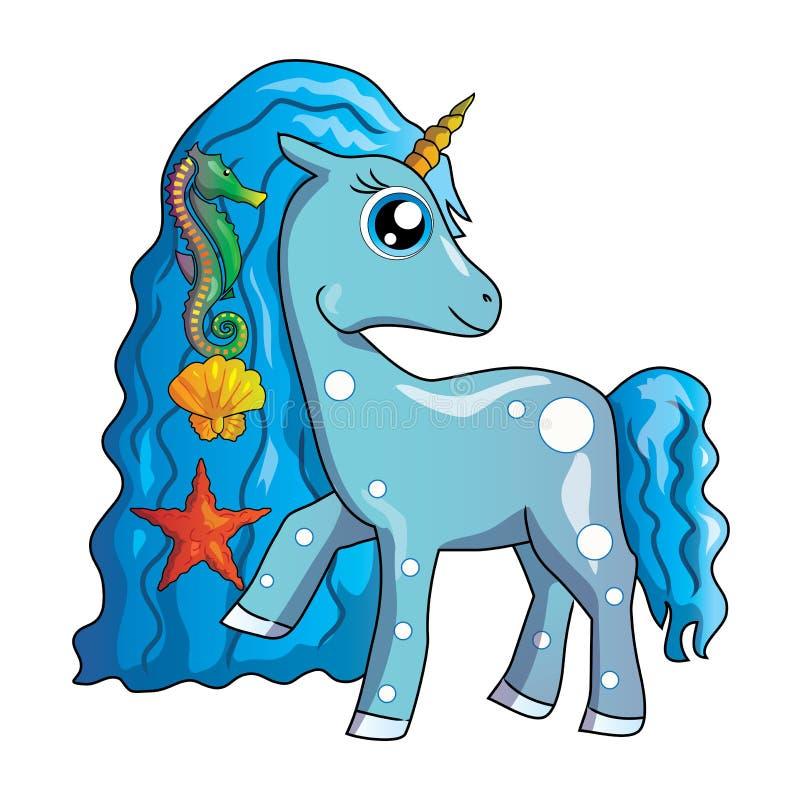 海独角兽 逗人喜爱的动画片传染媒介独角兽clipart einhorn,小的马,小马 皇族释放例证