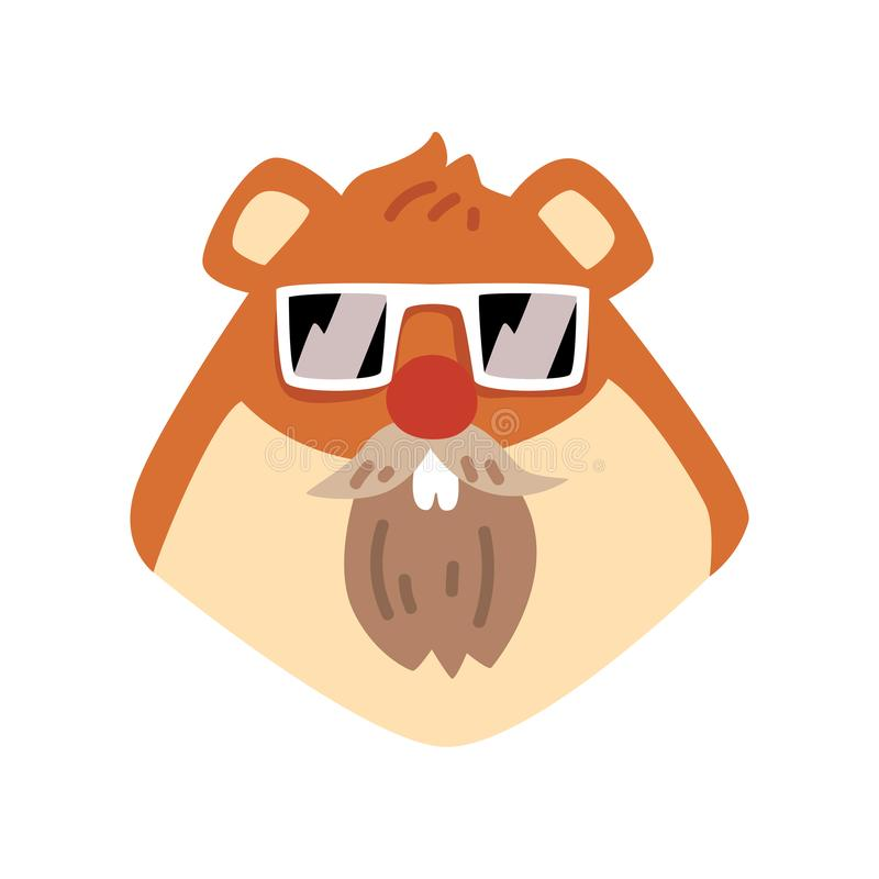 海狸佩带的太阳镜,在白色背景的动物画象动画片传染媒介例证 向量例证