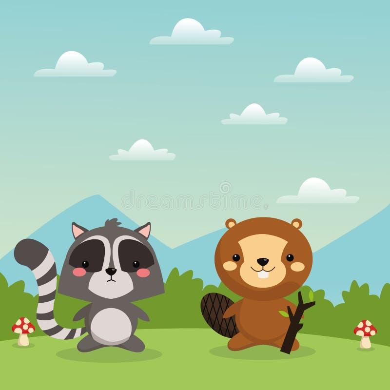 海狸和浣熊动画片象 森林地动物 背景装饰图象风格化漩涡向量挥动 向量例证